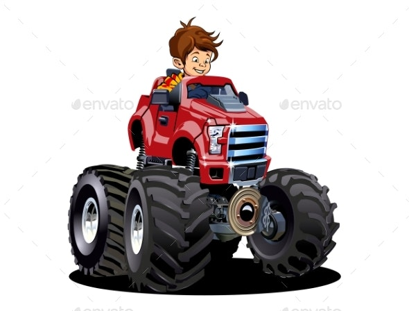 Cartoon Monster Truck with Driver Isolated - Man-made Objects Objects