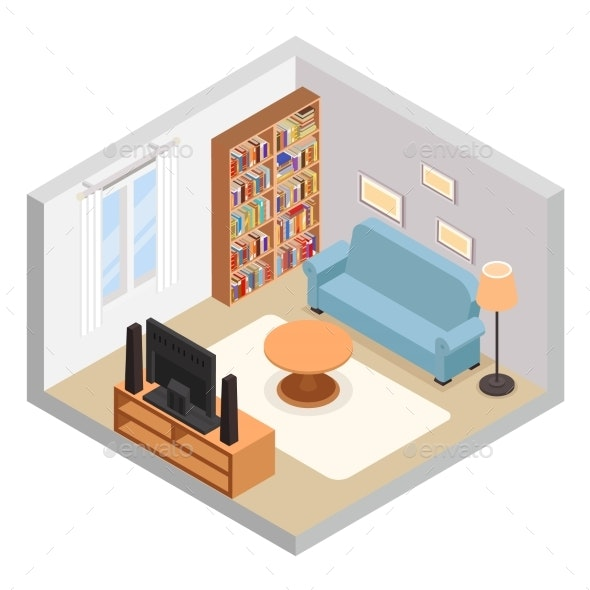 Hall Isometric TV Couch Sofa and Bookshelf - Buildings Objects