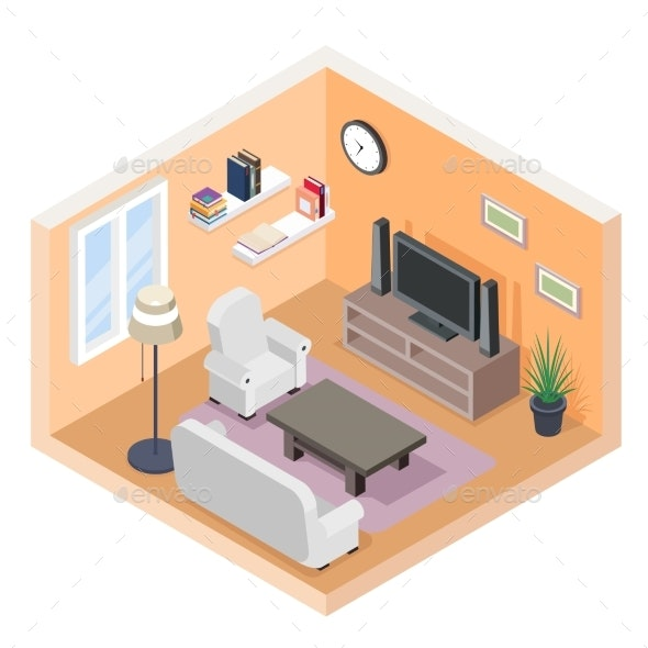 Isometric Hall with TV and Couch - Buildings Objects