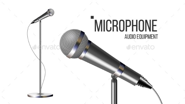 Modern Microphone With Stand Vector - Man-made Objects Objects