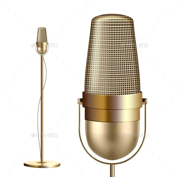 Retro Golden Microphone With Stand Vector - Man-made Objects Objects