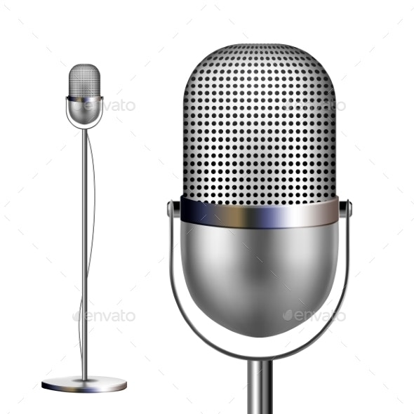 Retro Chrome Microphone With Stand Vector - Man-made Objects Objects
