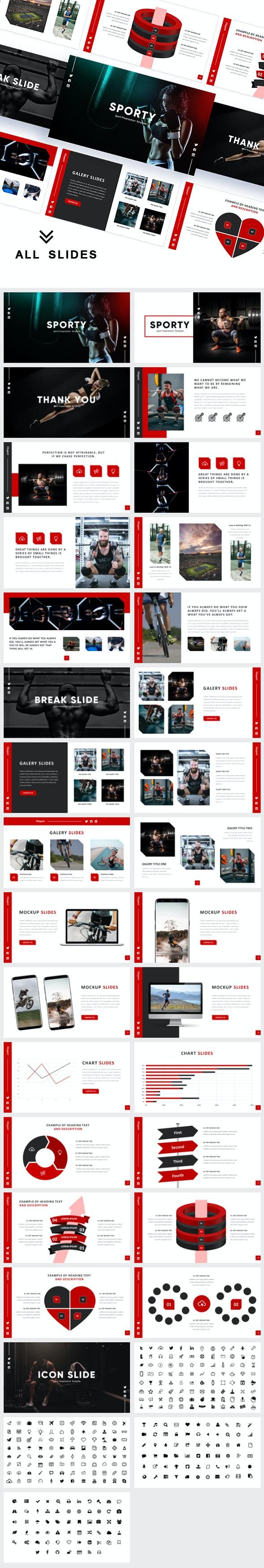 Fitsport - Gym, Fitness & Sports Google Slides Template - Google Slides Presentation Templates