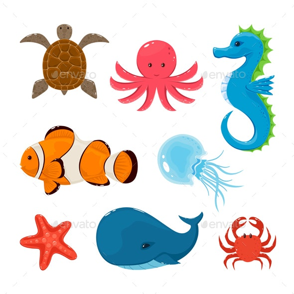 Set of Marine Animals on White Background - Animals Characters