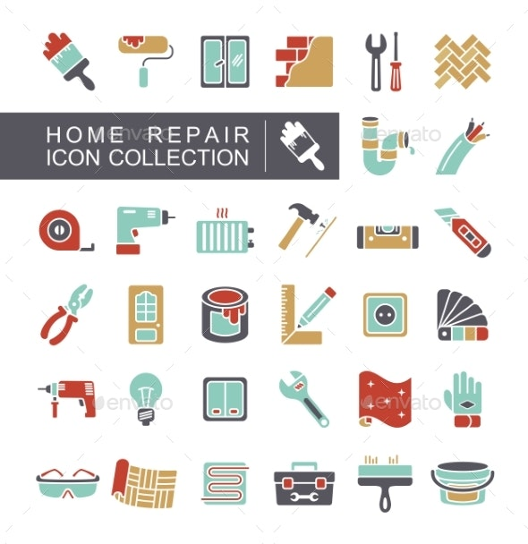Set of Building Construction and Home Repair Icons - Industries Business