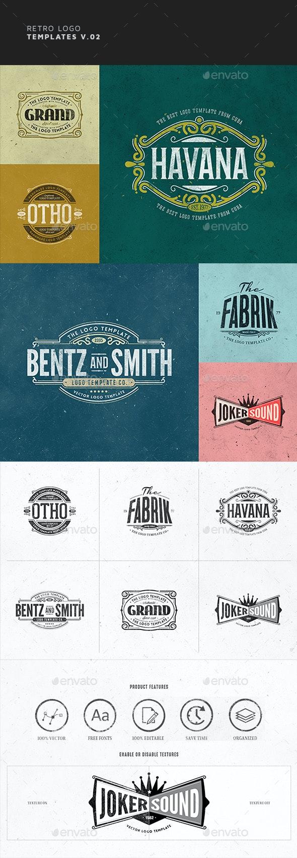 Retro Logo Templates V.02 - Badges & Stickers Web Elements