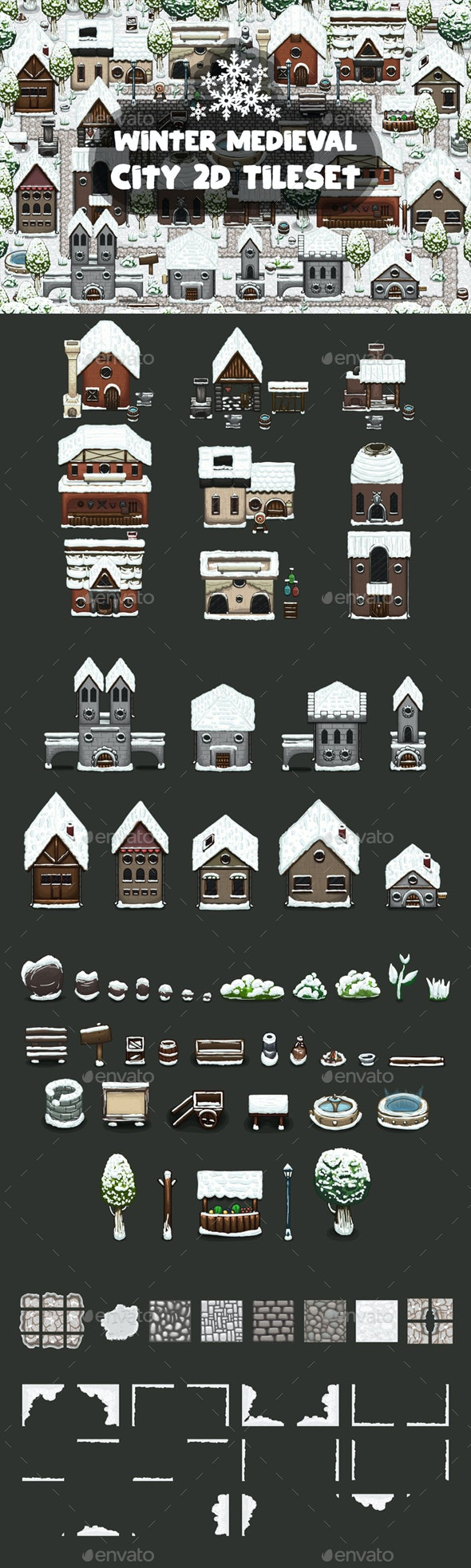 Winter Medieval City Game Tileset - Tilesets Game Assets