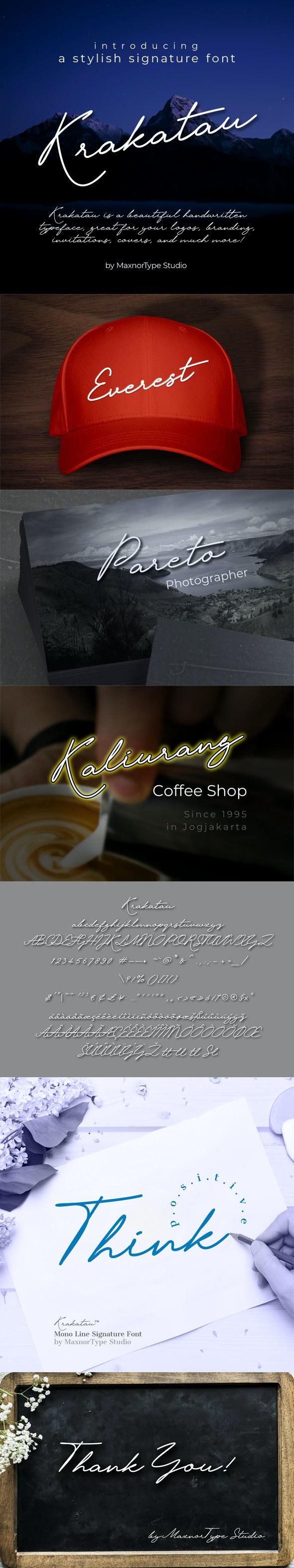 Krakatau Signature Font - Hand-writing Script