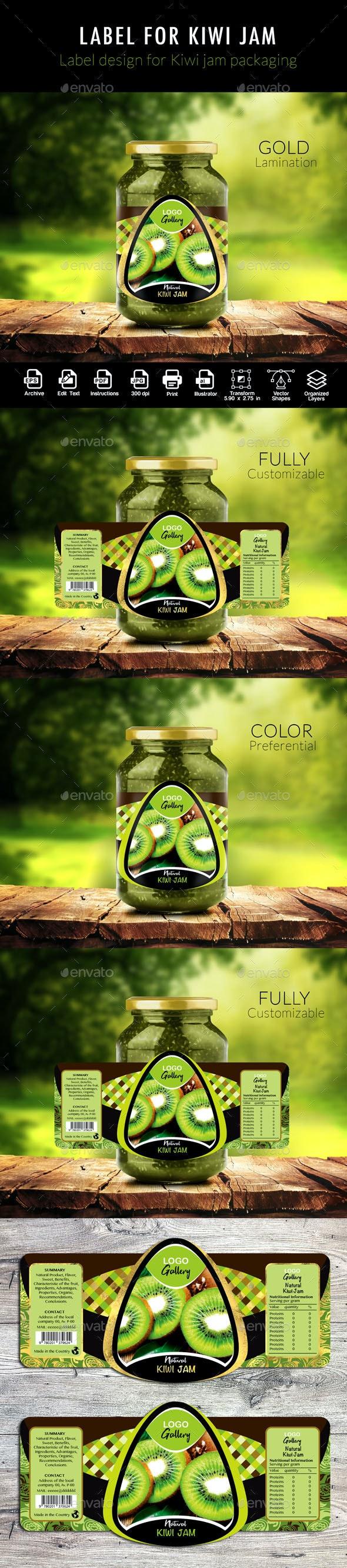 Label of Kiwi Jam - Packaging Print Templates