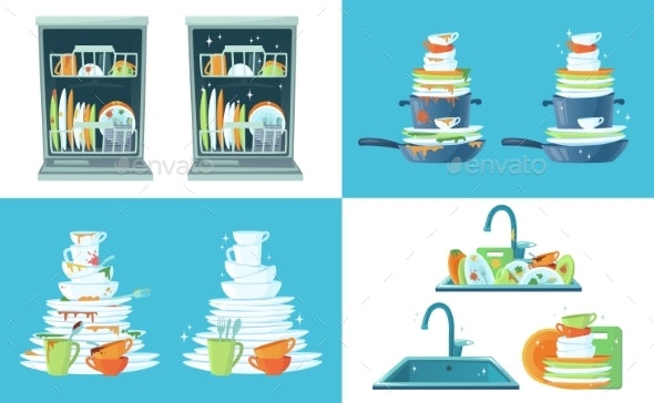 Dirty Kitchen Dishes - Miscellaneous Vectors