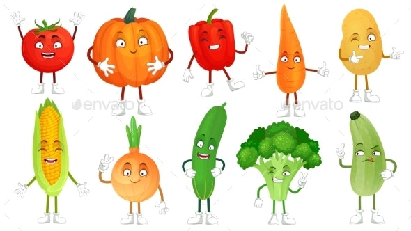 Cartoon Vegetable Character - Food Objects