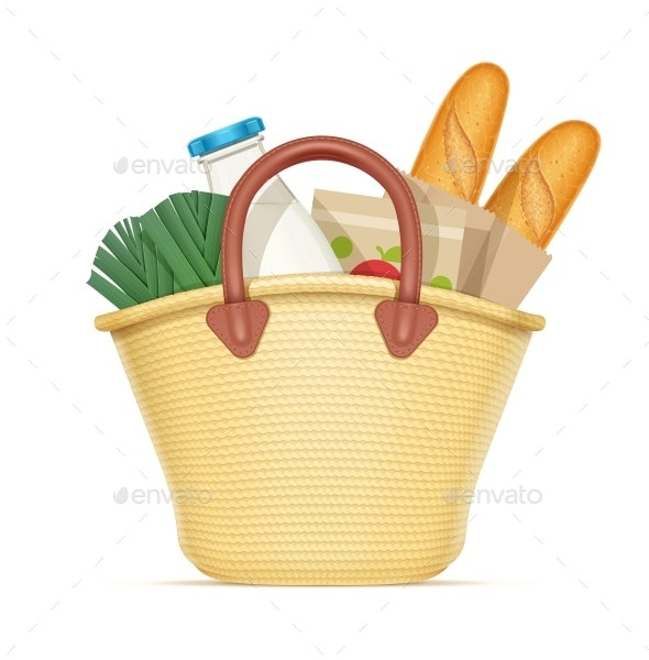 Straw Shopping Bag with Food - Food Objects