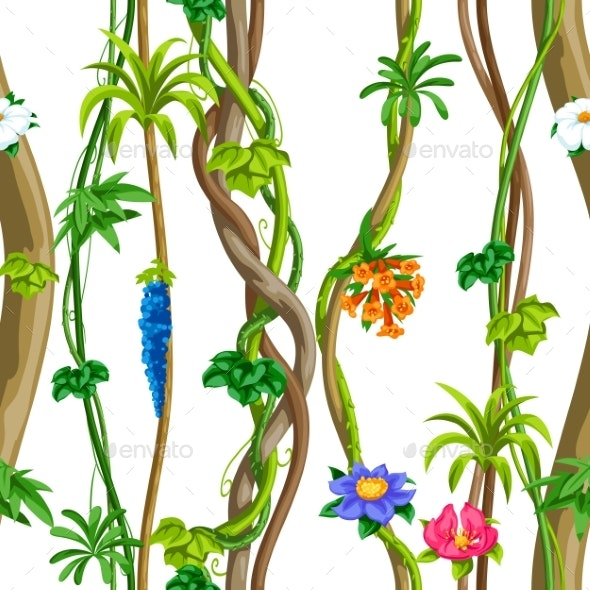 Twisted Wild Liana Branch Seamless Pattern - Flowers & Plants Nature