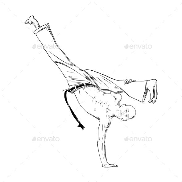 Hand Drawn Sketch of Capoeira Dancer