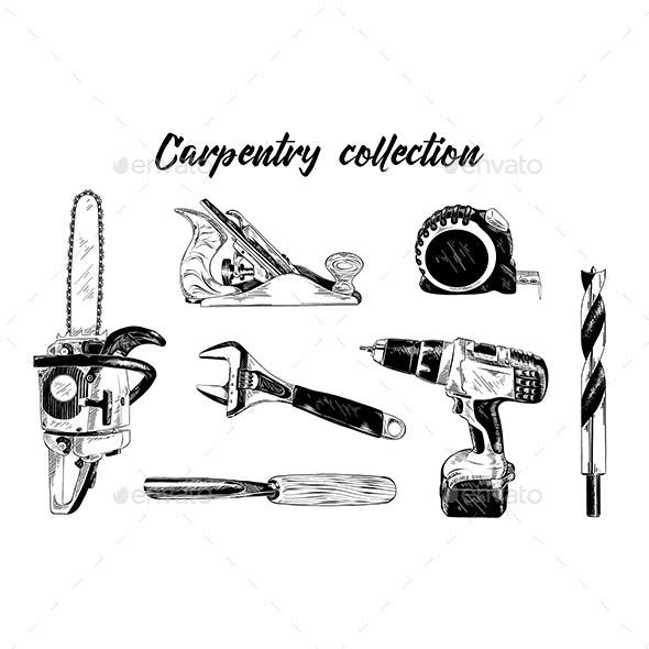 Hand Drawn Sketch Set Of Carpentry Tools - Industries Business
