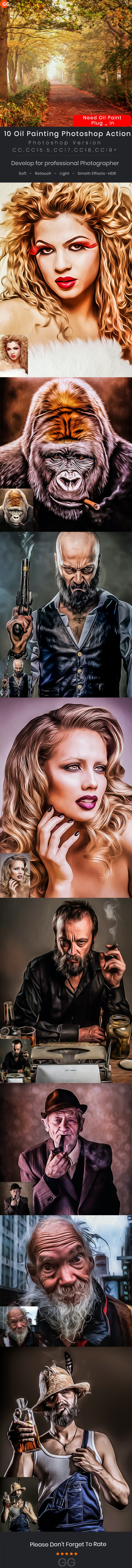 10 Oil Painting Photoshop Action - Photo Effects Actions