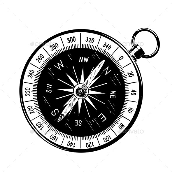 Hand Drawn Sketch of Compass - Man-made Objects Objects