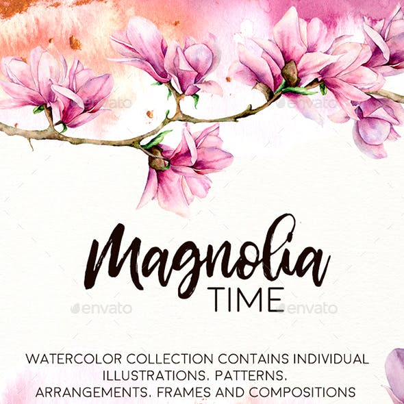 Magnolia time. Watercolor collection