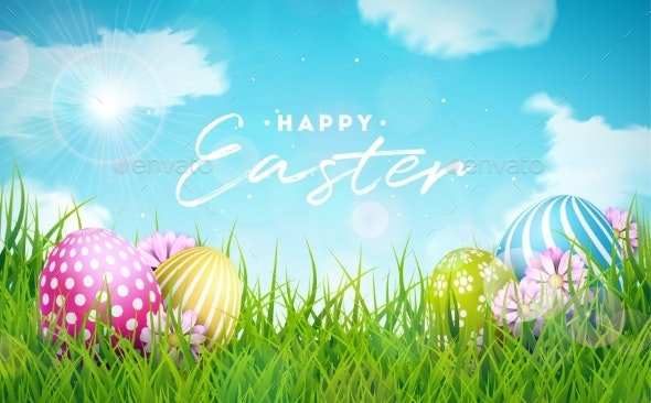 Happy Easter Holiday Illustration with Painted Egg - Seasons Nature