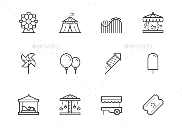 theme amusement park icon set in thin line style by greyj graphicriver https graphicriver net item theme amusement park icon set in thin line style 23457634