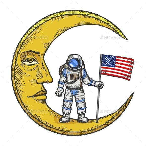 Spaceman USA Flag on Moon Color Sketch Engraving - Miscellaneous Vectors