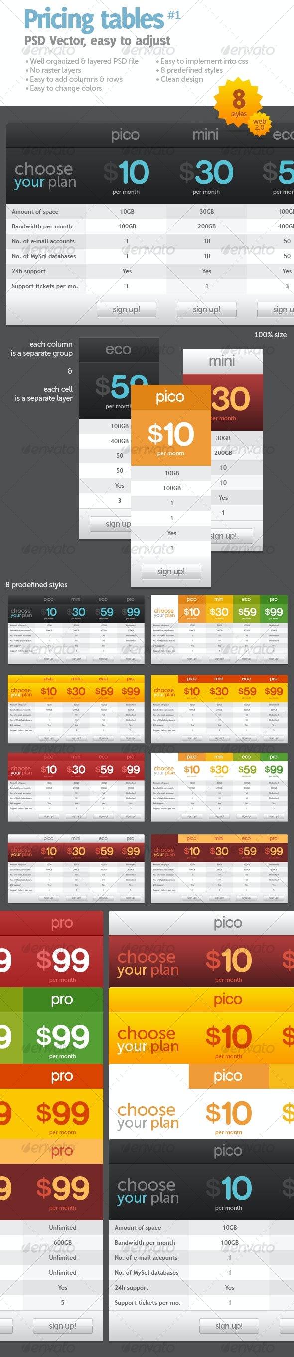 Pricing tables #1 - Web Elements