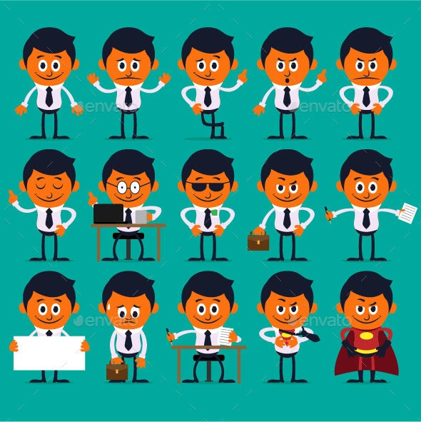 Businessman Flat Character Set - People Characters