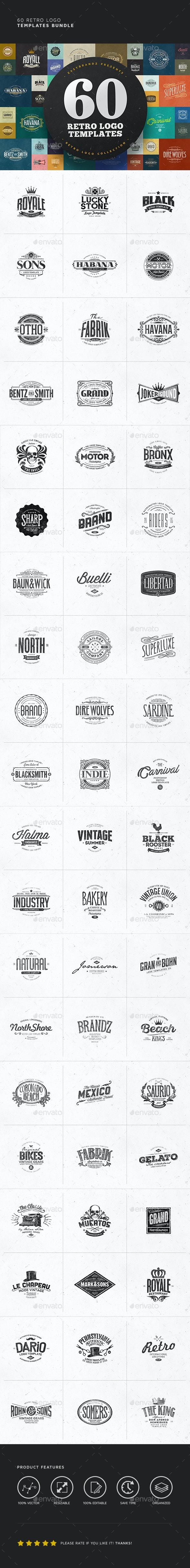 60 Logo Templates Bundle - Badges & Stickers Web Elements