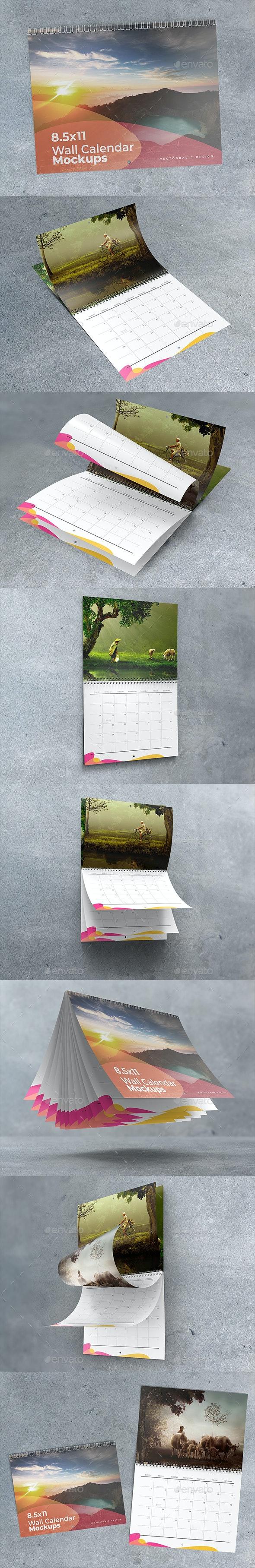 8.5×11 Wall Calendar Mockups - Stationery Print