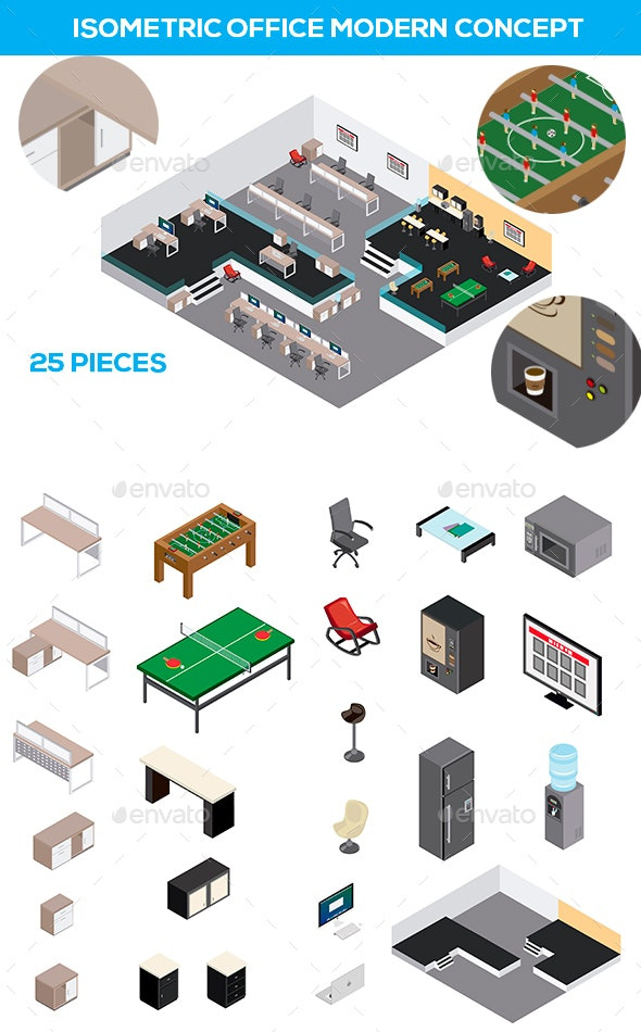 Isometric Modern Office - Man-made Objects Objects