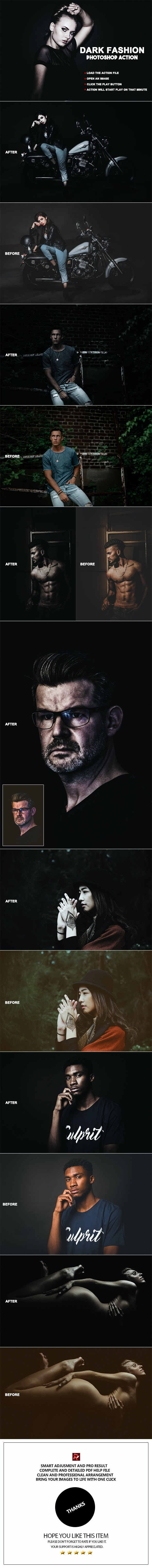 Dark Fashion Photoshop Action - Photo Effects Actions