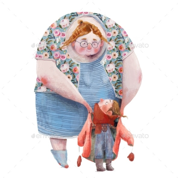 Old Woman with Little Girl - People Illustrations