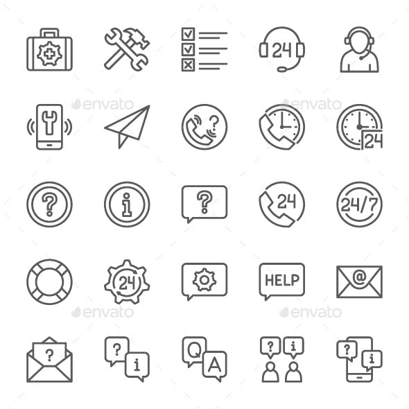 Set Of Help And Support Line Icons. Pack Of 64x64 Pixel Icons