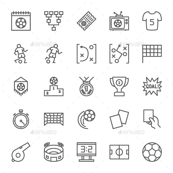 Set Of Soccer Line Icons. Pack Of 64x64 Pixel Icons - Objects Icons