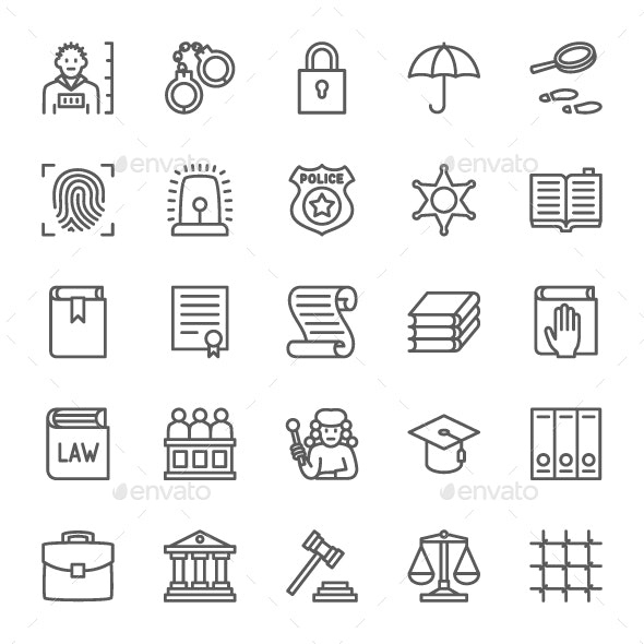 Set Of Law And Justice Line Icons. Pack Of 64x64 Pixel Icons - Business Icons