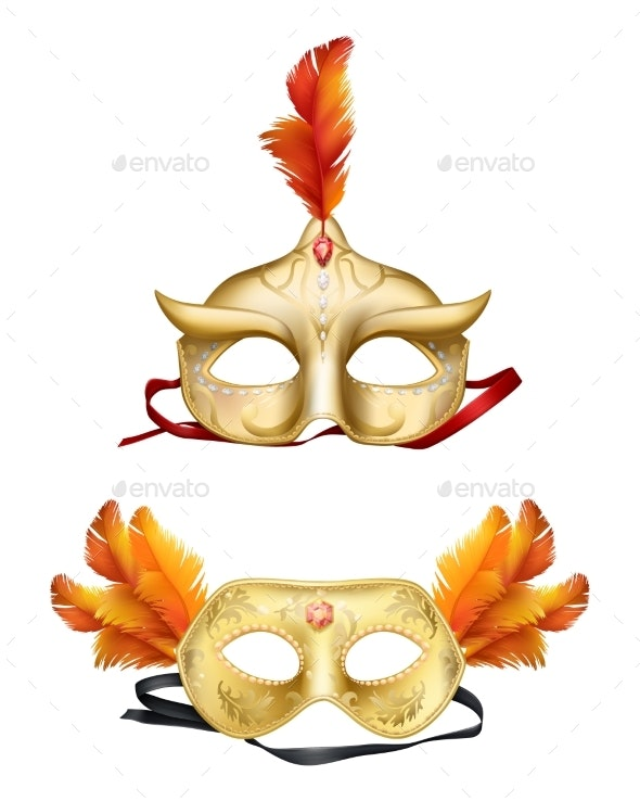 Colombina Golden Masks Realistic Vector Set - Man-made Objects Objects