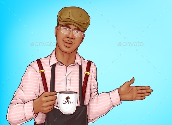 Barista with Coffee Cup Vector - People Characters