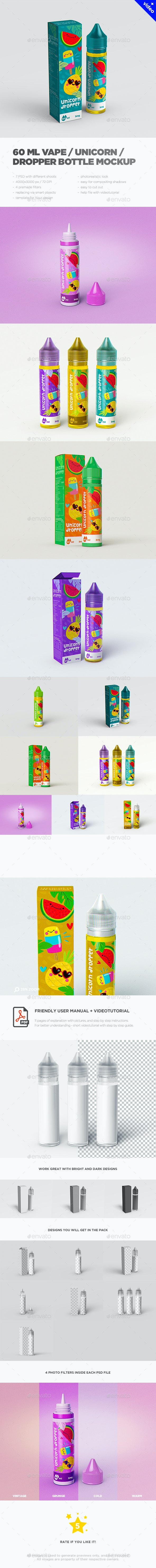 Vape / Unicorn Dropper Bottle MockUp - Miscellaneous Packaging