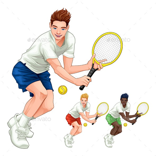 Three Tennis Players with Different Hair, Skin and Dress Colors - Sports/Activity Conceptual
