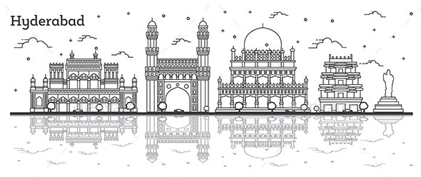 Outline Hyderabad India City Skyline - Buildings Objects
