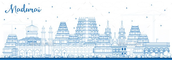 Outline Madurai India City Skyline with Blue Buildings - Buildings Objects