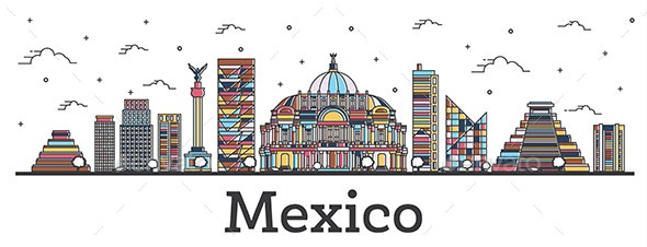 Outline Mexico City Skyline with Color Buildings - Buildings Objects