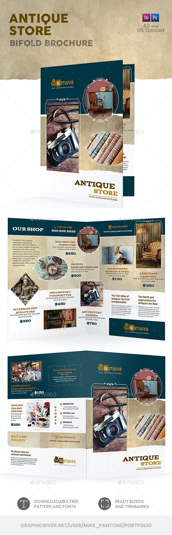 Antique Store Bifold / Halffold Brochure - Informational Brochures