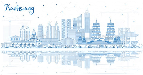 Outline Kaohsiung Taiwan City Skyline with Blue Buildings - Buildings Objects