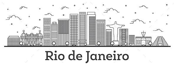 Outline Rio de Janeiro Brazil City Skyline - Buildings Objects
