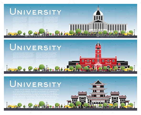 Set of University Campus Study Banners - Buildings Objects