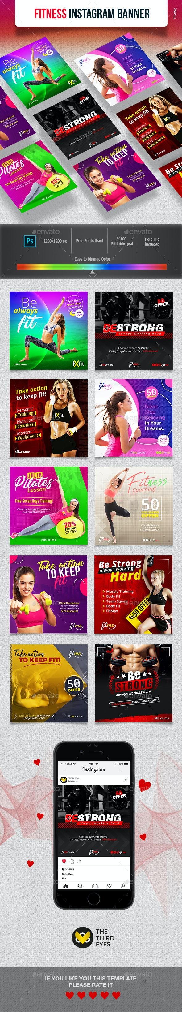 Fitness Instagram Banner - Social Media Web Elements