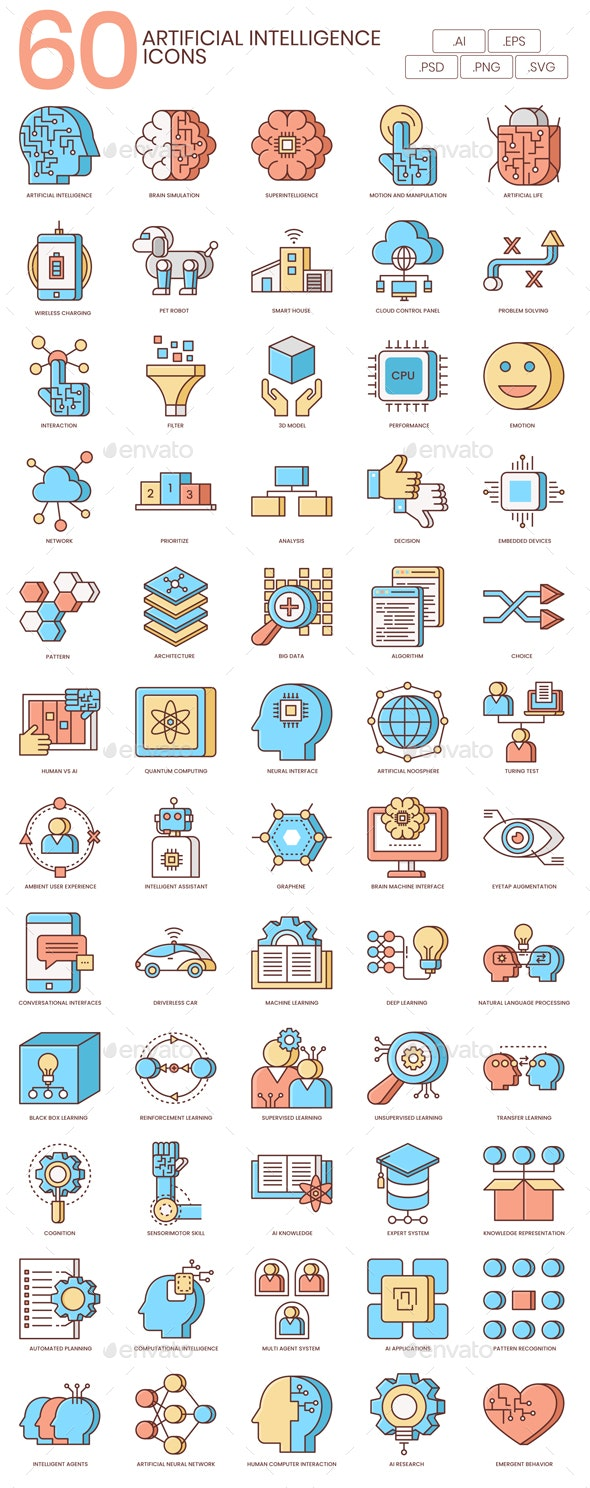 Artificial Intelligence Icons - Honey Series - Technology Icons