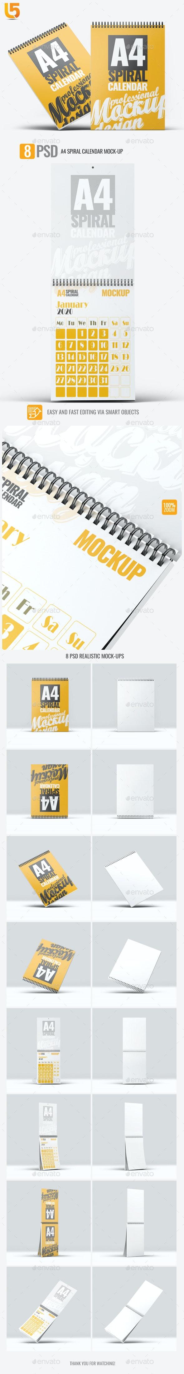 A4 Spiral Calendar Mock-Up - Brochures Print