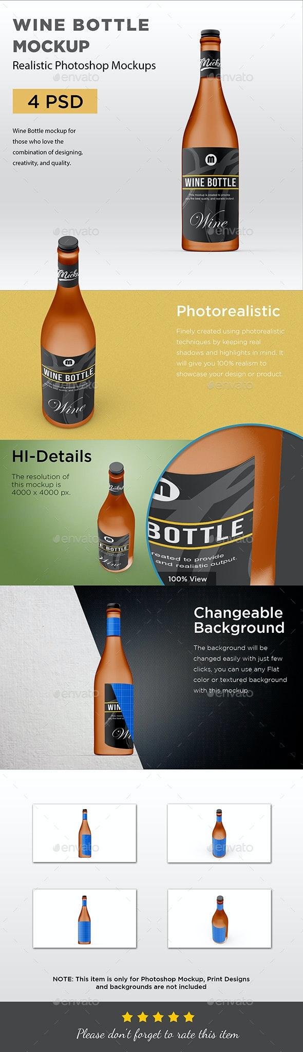 Wine Bottle Mockup - Packaging Product Mock-Ups